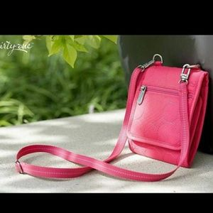Thirty One Vary You Mini Crossbody Coral Quilted